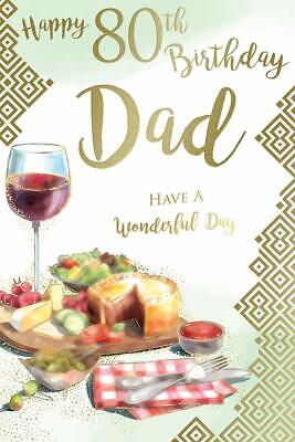 £2.95 • Buy Happy 80th Dad 80 Ploughman's Lunch Red Wine Design Birthday Card Lovely Verse