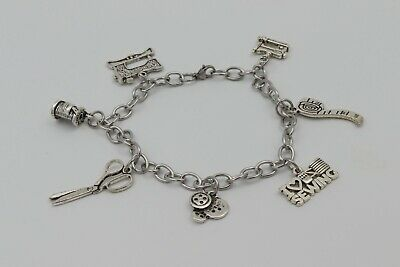 $18 • Buy Charm Bracelet SEWING Machine Scissors Buttons Stainless Steel Silver Boxed Gift
