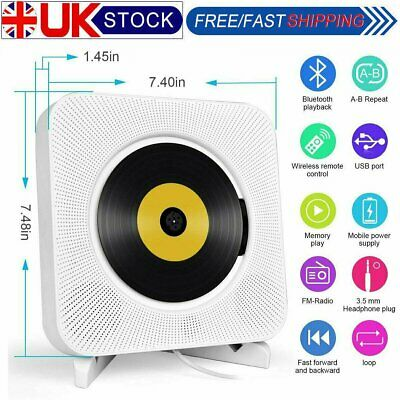 NEW Portable Remote Control Wall Mountable Bluetooth CD Player HDMI HiFi Speaker • 36.98£