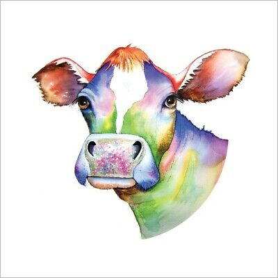 £2.75 • Buy Cute Blank Greeting Card By Artist Maria Moss Cards - Colourful Cow