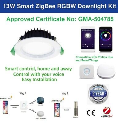 AU39.99 • Buy SmartThings Echo Plus 13W Smart ZigBee RGBW LED Downlight For Home Automation
