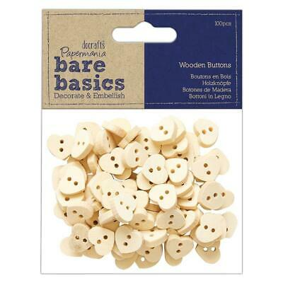 £4.49 • Buy 100 X Papermania Bare Basics Wooden Heart Shaped Buttons Sewing Decoration Craft