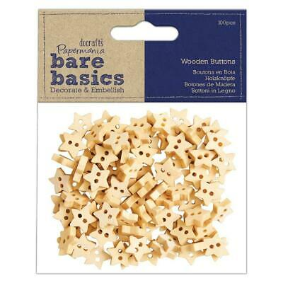 £4.49 • Buy 100 X Papermania Bare Basics Wooden Star Shaped Buttons Sewing Decoration Crafts