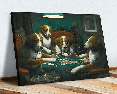 Dogs Playing Cards Poker Game CANVAS WALL ART PRINT PAINTING HOME PUB Coolidge • 25.49£