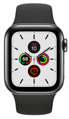 $ CDN735.44 • Buy Apple Watch 5 Series 5 40mm Space Black Stainless Steel - Black Sports Band Cell