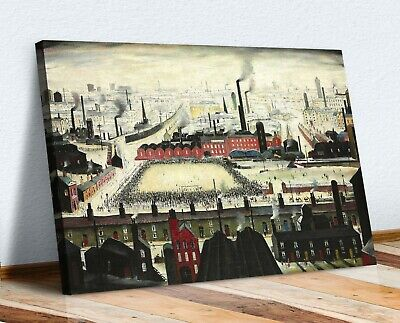 LS Lowry The Football Match CANVAS WALL ART PRINT ARTWORK PAINTING FRAMED • 24.99£