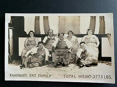 $ CDN19.84 • Buy RPPC Postcard Circus Sideshow - Farmar's Fat Family - Total Weight 3,773 Pounds