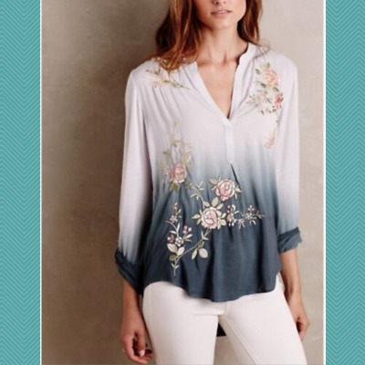 $ CDN34 • Buy Anthropologie Tiny Gray Ombre Floral Embroidered Popover Blouse | Women's S