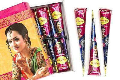 Natural Kajal FRESH Darkest Brown Henna Tattoo Cones PPd Free Henna Cones P • 3.99£