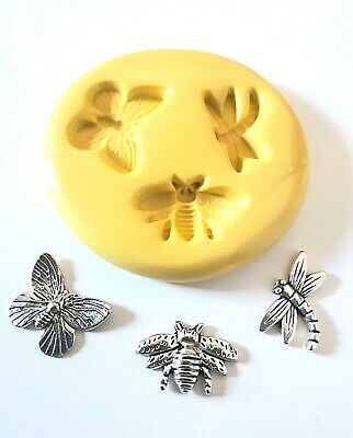 Small Insects Silicone Mould- Bee Dragonfly Butterfly FOOD SAFE Polymer Clay PMC • 5.98£