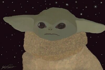 $35 • Buy Baby Yoda. 11x14 Poster. Hand Painted. Disney Inspired. Independent Artist