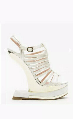 New Silver Curved Wedge Sandals Strappy Gold Detail 4/37 Satin No Box Peeptoe  • 6£