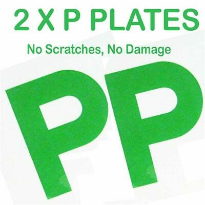 2 X P PLATE MAGNETIC SECURE GREEN NEW DRIVER PLATES PASSED FOR CAR VEHICLE SIGNS • 2.49£