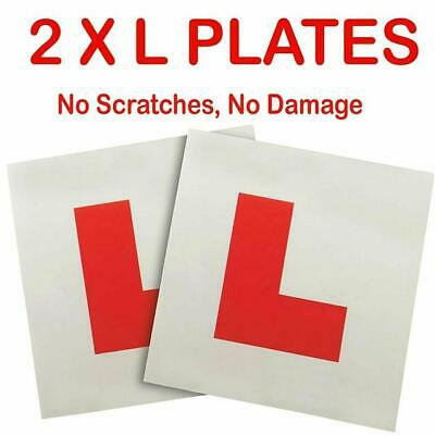 2 X L PLATE MAGNETIC SECURE RED NEW DRIVER PLATES CAR LEANER VEHICLE SIGNS • 2.49£