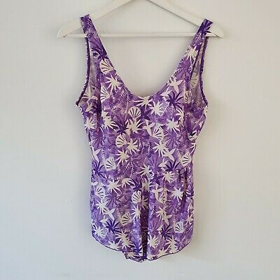AU40 • Buy Vintage 80s Purple Swimsuit XL AU16 Cream Shell Print One Piece Skirted L Pinup