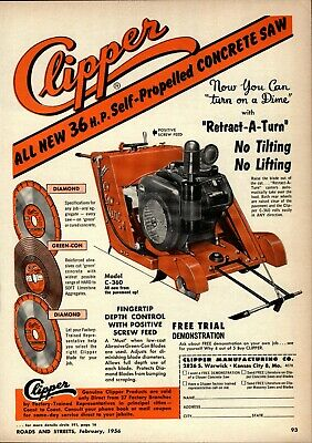 1956 Clipper Mfg. Print Advertisement: Self Propelled Concrete Saw, Kansas City • 11.71£