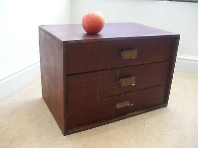 Vintage Wooden Table Collectors / Storage Chest Of Three Drawers • 29.99£