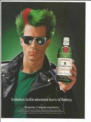 1989 VINTAGE 10X12 PRINT Ad FOR TANQUERAY GIN MAN WITH GREEN HAIR+RED STRIPE • 7.20£