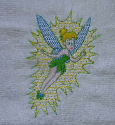 Tinkerbell From Peter Pan, Embroidered White Face Cloth / Flannel • 4.55£