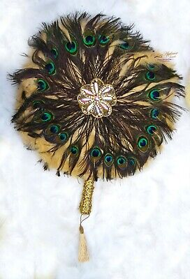 Peacock Mix Round Shaped Feather Traditional African Wedding Hand Fan  • 69.95£