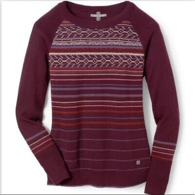 $34.99 • Buy Smartwool Women's Small S Ethno Graphic Fair Aisle Sweater EUC Maroon $98