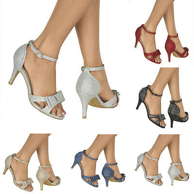 £16.99 • Buy New Ladies Diamante High Heel Peep Toe Ankle Strap Evening Party Shoes Sizes 3-8