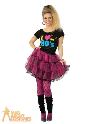 Adult Ladies 1980s I Love The 80s Tutu Costume Retro Womens Fancy Dress Outfit  • 12.49£
