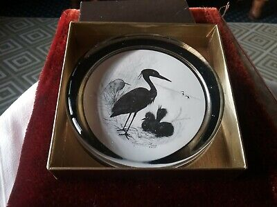 Heron In Silhouette Glass Paperweight By Marcelle D Shears Boxed • 0.99£