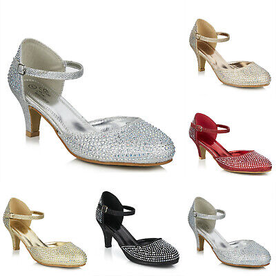 £19.99 • Buy New Sparkly Diamante Ankle Strap Low Heel Mary Jane Evening Party Shoes Size 3-8