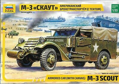 $21.99 • Buy Zveda M-3 Scout Armored Car W/ Canvas In 1/35 3581