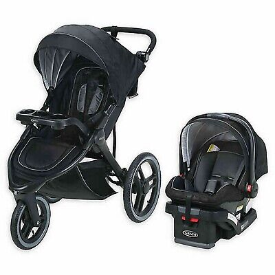Graco Jogger Stroller Travel System With SnugRide 35 LX Car Seat Combo Black • 274.24£