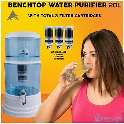 AU125 • Buy Benchtop Water Filter Dispenser 8 Stage Water Filter Purifier With 3 Filters 20L