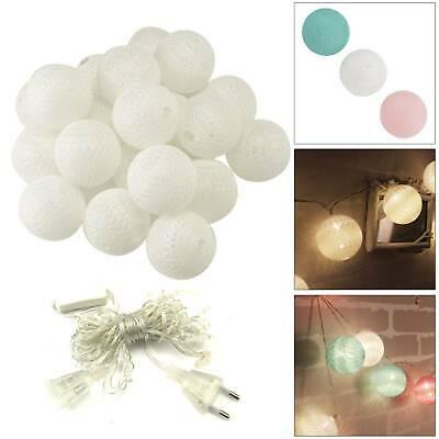 Connectable Electric 20 LED Cotton Festoon Ball Fairy String Xmas Lights Plug-In • 8.69£
