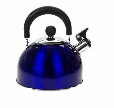 Stainless Steel WHISTLING Kettle 2.5L Electric Gas HOBS Stove Camping • 7.95£