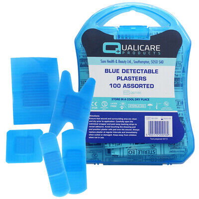 £5.95 • Buy 100 X Blue Detectable Plasters Catering First Aid Assorted Sizes In Plastic Box