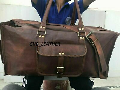 AU80.12 • Buy Bag Leather Travel Duffel Luggage Gym Weekend Men Fit All Accessories Holdall