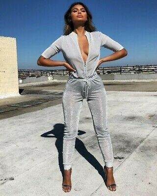 Oh Polly Glittery Silver Jumpsuit Size 12 New With Tags Sexy  • 2.60£