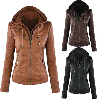 Womens Ladies Motorcycle Hooded PU Leather Biker Jacket Coats Parka Outerwear UK • 24.98£
