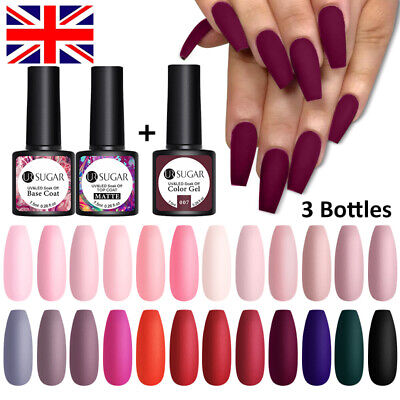 UR SUGAR 3 Bottles Combo Set Matte UV Gel Nail Polish Soak Off Gel Varnish • 8.99£