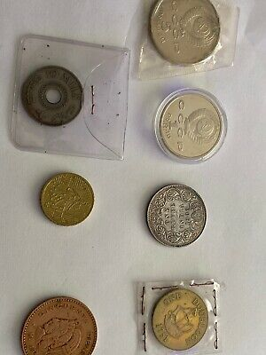 Collection Of 7 Old Foreign Coins Rare And Old • 3£