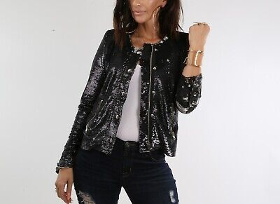$ CDN238.17 • Buy IRO Grey Metallic Sequin Zipper Jacket Size 36