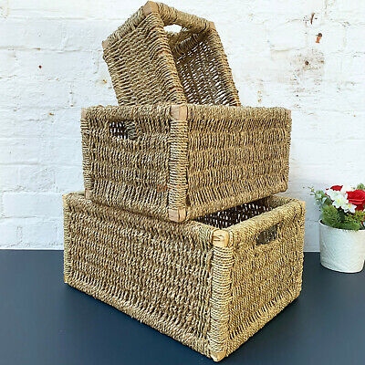 Rectangular Woven Seagrass Hampers Bathroom Kitchen Wicker Basket Storage Gift  • 23.99£