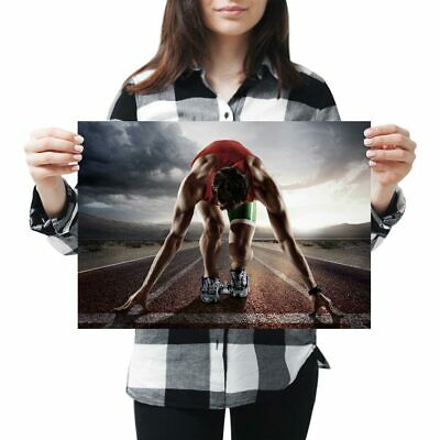A3 - Running Track Athlete Exercise Poster 42X29.7cm280gsm #14521 • 8.99£