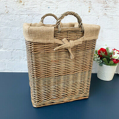 Lined Strong Rectangular Home Fireplace Wicker Storage Laundry Wood Log Basket  • 34.99£