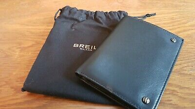 Quality Italian Black Leather Wallet Branded Breil Milano - New In Pouch & Box • 10£