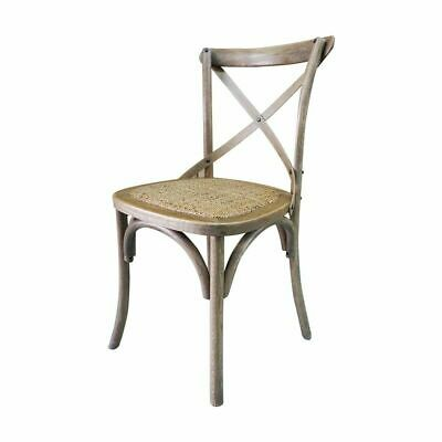 AU694 • Buy Set Of 6 French Provincial Hamptons Cross Back Oak Birch Rattan Dining Stool