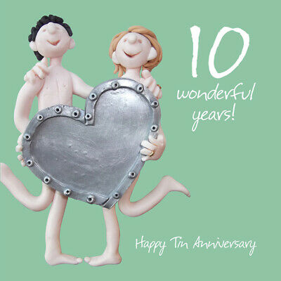 Tin 10th Wedding Anniversary Card • 2.90£