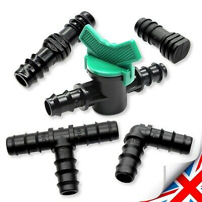 Gardening - 1/2  (16mm) IRRIGATION SYSTEM PIPE Elbow, Tee, Joiner, Plug, Valve  • 5.95£