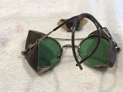 $118.68 • Buy Vintage Steampunk Antique Safety Sun Green Glasses Goggles  Driving Motorcycle