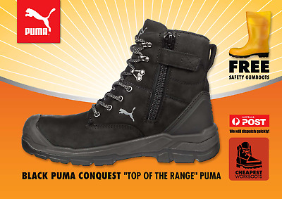 AU167.99 • Buy PUMA Conquest ZIP Sider BLACK 630737  WORK BOOTS Top Of The Range PUMA Boot Shoe